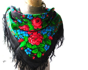 Babushka vintage 70s black wool large scarf-shawl with a  fringe and red, green , blue color flowers and leaves.