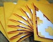 Blank Mini Card Set of 10, Metallic Lattice Desgin with Contrasting Floral Design on the Inside, Metallic Gold Envelopes, mad4plaid