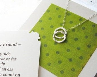 BEST FRIENDS Necklace - POEM Note Card - Inspirational Jewlery Sterling Silver - Friendship Jewelry Simple
