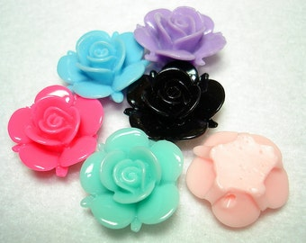 Assorted Resin Flower Beads (Qty 6) - B2609