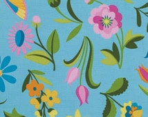 Sweet Lady Jane Party Frock Teal fabric | Cotton Quilting fabric | Jane Sassaman