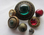 Vintage Button- 7 colored rhinestone embellised, gold metal and metalized acrylic (dec 462)
