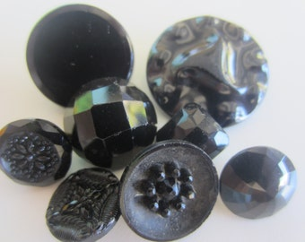Vintage Buttons - lot of 8 black novelty glass, old and sweet, some Victorian (lot mar 297 )