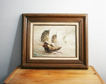 vintage 70s Asian Fishing Boats // Framed Oil Painting Signed Leung
