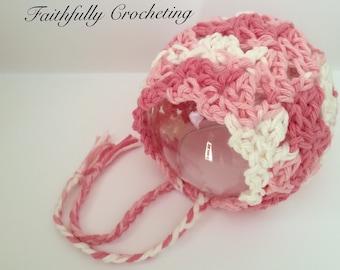 Newborn Bonnet... Pink Cotton Bonnet... Photography prop.. Ready to ship