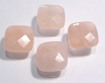 Rose Quartz Faceted Puffed Square Shape Gemstone Beads....10mm....4 Beads