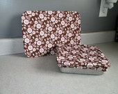 Reusable Set of Fabric Bakeware Pan Covers-Brown with White Flowers