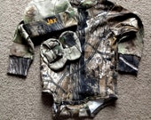 Personalized Realtree Camo Camouflage Hunting 3PC Long sleeves Creeper onesie Baby Infant Newborn Set Coming Home outfit Boy/Girl