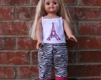 18 Inch Doll Zebra Eiffle Tower Pajamas or Lounge Pants