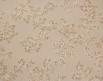1920s Antique Vintage Wallpaper Scrolls and Small Flowers on Gray-Green by the Yard--Made in England