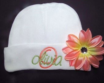 Personalized Baby Beanie Hat with Flower Clip Embroidered Monogram Baby Shower Gift Newborn Girl Coming Home Outfit