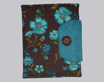 Handmade, Fabric iPad bag, iPad cover, iPad Air Case, Case for iPad, iPad case, Custom iPad, Brown / Aqua Flowers