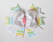 Easter Pink White Turquoise Yellow Green Chevron & Polka Dot Avery Style Stacked Boutique Hair Bow Clip on alligator clip with no slip grip