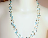 Vintage Venetian Blue Millefiori Glass Bead Flapper Sautoir Necklace