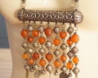 Antique Vintage Ottomon Tibetan Berber Faceted Carnelian Prayer Necklace