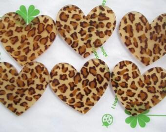 Leopard heart acrylic cabochons 4pcs 45mm x 42mm  new item