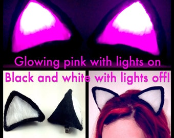Glowing Pink Clip On Cat Ears, Black And White Outfit Costume Cosplay Ravewear Festival Accessory. Halloween LED Light Up Neko Anime Outfit