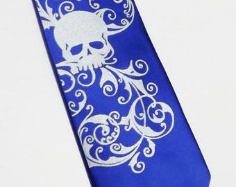 Necktie men Royal blue and silver skull tie Distressed skull design by RokGear SALE