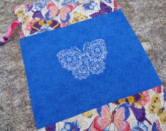 Delicate Mehndi Butterfly Embroidered Knitting Project or Storage Bag Fully Lined