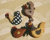 """Chicken Buttons - Chick Hen Rooster Sewing Button - 1 3/4"""" Tall - 4 Shank Buttons"""