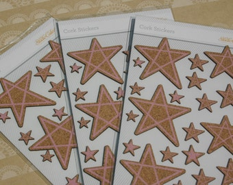 Studio Calico Cork Stickers - Cork Pink Star Daily Planner Sticker - ONE Package