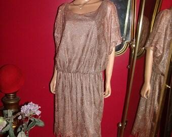 Vintage  90s Flapper Dress Fringes Lace  Metallic  Tea party Holiday  Size 20W