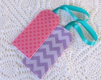 Lilac Chevron & Hot Pink Dots - set of 2 -Luggage Tag