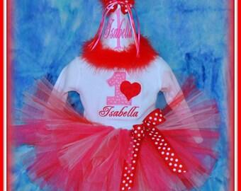 VALENTINE Cake Smash Set, First Birthday Valentine Outfit, Valentine Birthday Hat, Bodysuit, Bib, Ribbon Bloomers and Tutu