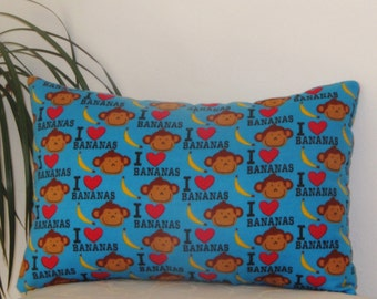 "I Love Banana - Turquoise Cotton Flannel -Toddler Pillow -Travel Pillow 10""x15"""