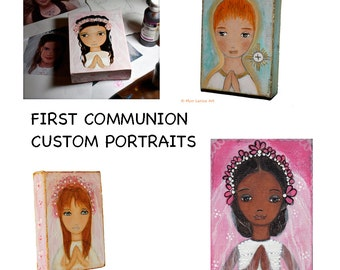 Custom First Communion Painting - Mixed Media Original Portrait on 5 x 7 inches Canvas  Folk Art  by FLOR LARIOS