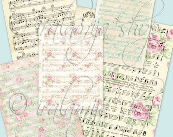 "MUSIC SHEET  8.5"" x 11"" backgrounds Collage Digital Images -printable download file-"