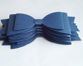 5 Navy double bow bowties, wedding decoration, party decoration, scrapbook embellishment, invitation embellishment, 3-d bowtie,paper bow tie