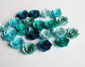 20 Assorted blue ombre rolled paper flowers, wedding decoration,scrapbook decoration,table decoration, rosette,small flowers,embellishment
