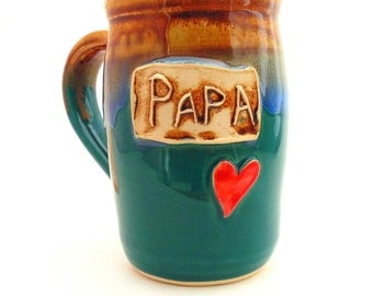 Father's Day  Handmade Pottery  Mug  Papa   teal  READY TO SHIP ceramics and pottery  Jewel Pottery