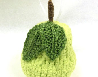 Hand Knit, Christmas Pear Ornament, Quiltsy Handmade