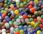 clearance .. MATTE CIRCUS MIX .. 100 Round Glass Beads (1300-mat)