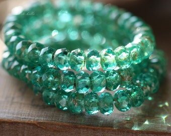 TEAL GREEN BITS .. 30 Premium Picasso Czech Rondelle Glass Beads 3x5mm (4467-st)