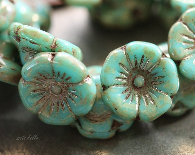 BLOOMING TURQUOISE .. 15 Premium Picasso Czech Glass Flower Button Beads 12mm (4205-15)