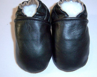 ON SALE -black leather baby shoes - soft soul leather shoes - soft soled black  leather shoes -moxies shoes