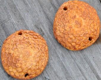 2 Pottery Flower Beads in Pumpkin