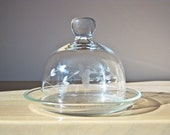 Butter Cheese Dish, Etched Flowers Glass Dome Cloche on Glass Plate