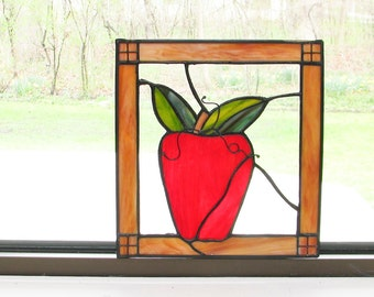 Stained Glass Apple Art, Window Decor