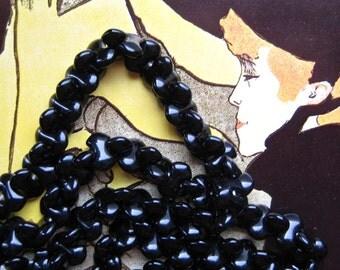 Shiny Black Beads, Stacking Glass Beads Vintage Japan Farfalle Beads, Opaque Black Interlocking Beads Occupied Japan Beads Jewelry Making 50