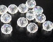 CLEARANCE Glass Bead 12 Clear AB Rondelle Faceted 10mm x 7mm (1014gla10w2)os