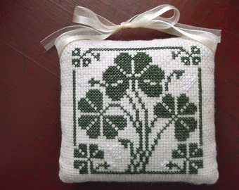 Completed Cross Stitch Shamrock Pinkeep, Hanging Cupboard Door Pincushion, St. Patrick's Day Decoration, Primitive Folk Art