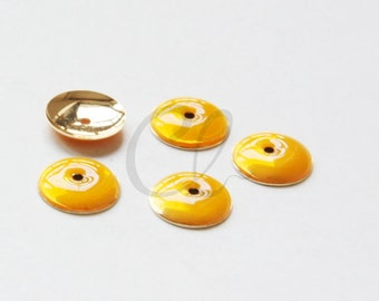 4pcs Yellow Enameled Gold Tone Brass Base Findings - Cap- 12mm (502C-R-283)