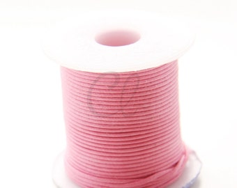 25 Meters of Round Wax Cotton Cord - Neon Pink 1mm (503)