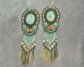 Chrysocolla and Tiger Eye Bead Embroidered Earrings