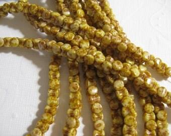 Clearance - Czech Glass Pellet Beads 4x6MM White Alabaster Travertin 30 Beads
