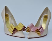 Two Tone Satin Ribbon Bow Shoe Clips Gold and Dusty Pink Set of Two, More Colors Available